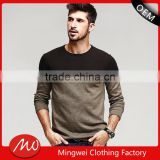 mans crew neck split joint pattern tight pullover sweater for wholesale
