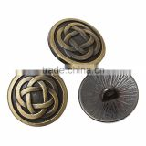 Custom Round Antique Bronze Chinese Knot Pattern Carved Sewing Metal Buttons