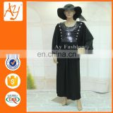 African Luxuriant Choiceness Manufacturing Round Collar Online Wholesale Bead Piece Black Abaya