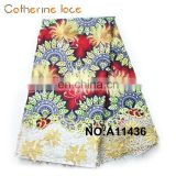 Catherine New Products Innovation Polyester Embroidery African Wax Print Fabric