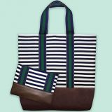 large shoulder bag striped purse makeup bag from factory