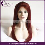 15Years experience human hair wig burgundy lace front wig