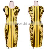 walson instyles retro round neck sleeveless evening dress bodycone printed pencil dress pin up