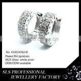 Sheng lei shi jewelry limited wholesale brazil earrings for boys sterling Silver Twin Hoop CZ Earrings