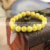 BRH0909 Yellow dyed jade beaded& Rose quartz point charm stretch bracelet