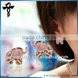 2014 new fashion ladies stud designs k gold enamel leopard pattern elephants brass earrings in zinc alloy jewelry E00153
