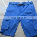 2012 100% cotton cargo short pant for mens with belt