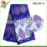 Fashion royal blue Embroidery French Lace Fabric 2016 African Tulle Lace for Wedding NQ195-4