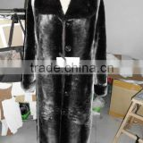 sheared sheep fur coat with mink collar