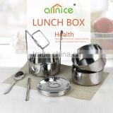 Allnice wholesale 3 layers comfortable take stackable thermal stainless steel tiffin box/bento box with handle