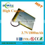 Top quality deep cycle portable dvd player battery 1800mah rechargeable battery for shaver