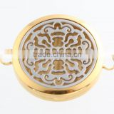Hot Sale Round Gold And Silver Old World Cross Aromatherapy Essential Oils Diffuser Locket For Bangle Bracelet