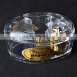 Made In China Christmas hand crank music box,Transparent Gold-Plate Acrylic Hand crank Music Box.