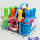 Sport games kids plastic bowling set with basket