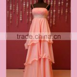 Best empire waist peach color bridesmaid dress