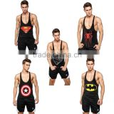 2016 gimnasio fitness superhero spiderman/ bat-man /Captain America men bodybuilding suit gym compression muscle tank top