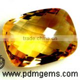 Citrine Semi Precious Gemstone Cushion Checker Briolette For Diamond Jewelry From Wholesaler