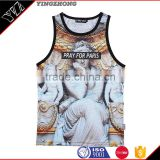 Fashion Polyester Digital Sublimation Printed Tank Top mens, Racer Back Tank Top, Custom Sublimated Gym Tank Top