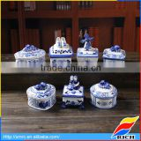 Custom antique delft blue porcelain jewelry gift boxes