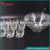 Big Salad Beverage Container Transparent Glass Punch Bowl Set With 12 Cups