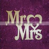 Mr. & Mrs. wedding sign with heart unfinished MDF wood laser cut shapes crafts