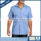 65 Polyester 35 Cotton 32*32 150gsm Drill Two Pocket Short Sleeve Mens Shirt Made in China Shanghai