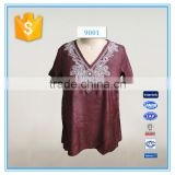 Ladies Cotton Top From Bangkok Embroidery V Neck Designs For Ladies Blouse