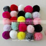 KR 100% Real Rex Rabbit fur Pom pom/Colorful Rabbit fur ball keychain 6-10cm bag pendant