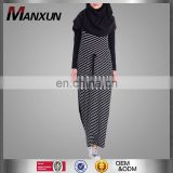 High Quality Classic Design Fashion Women Hijab Muslim Scarf Black And White Striped Long Knit Dress Abaya