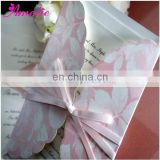 A0426 Pink Color Ribbon Lovely Baby Invitation Cards