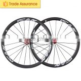 700C carbon wheels clincher road carbon rims 21mm width bicycle wheelset with titanium quick release 38C