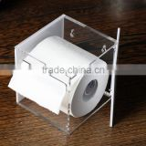 custom desktop square acrylic tissue box holder,toilet paper display case,acrylic toilet paper despenser box holder