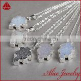 China wholesale leaf 925 sterling silver jewelry agate druzy pendant charm connector
