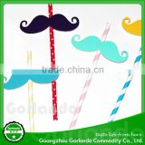 lovely paper moustache topper cocktail decorative drinking straws                                                                         Quality Choice