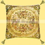 Turkey Beautiful Golden Silk Background Colorful Flower with Four Tassel Round Design Sofa Cushion Cover GS-011