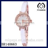 latest design fashion gold plating enamel band watch*girls quartz watch with cz stone bezel