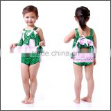 Mermaid costume outfit ,girls summer swing top panties set,green& pink 2016 kids clothes