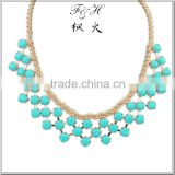 Five color stone fancy statemen necklace 12 piece a lot wholesale Image