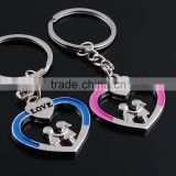 Japan and South Korea creative lovely boys and girls LOVE LOVE couple keychains key ring custom key ring For lovers