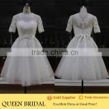 Real Works White Short Sleeve Cheap Wedding Dresses Ball Gown 2015