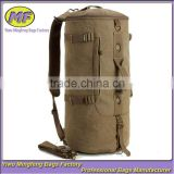 Men Vintage Canvas Leather Hiking Travel Cylinder Messenger Tote Bag Backpack