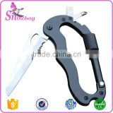 Multifuction Tool 5 in 1 Carabiners tool with Knife+Screwdriver+Bottle Opener Lock Keychain For Camping Hiking