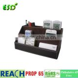 Leather Desk Stationery Organizer Storage Box, Pen/Pencil ,Cell phone, Business Name Cards, Note Paper, Remote Control holder