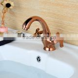 QL-0422 Good Quality Contemporary Rose Gold One Hole Two Handles Bathroom Sink Faucet