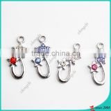 Charm Pendant Crystal Drop Metal Beads Silver Color Jewelry Making Bracelet