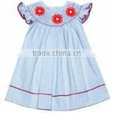 Embroidery Children Clothing baby toddler girls blue seersucker smocked dress red flowers Baby Girls Dresses