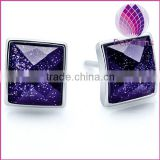 Top quality new design products 925 sterling silver black agate square purple sand facted stud earring sold by pairs