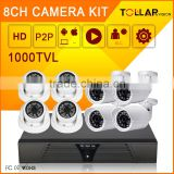 Professional 1000TVL 8CH indoor cctv camera security camera kit poe
