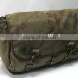 Green color canvas messenger bag
