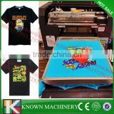 commercial used Multifunctional flatbed t shirt printer/6 color A3 digital T shirt printer